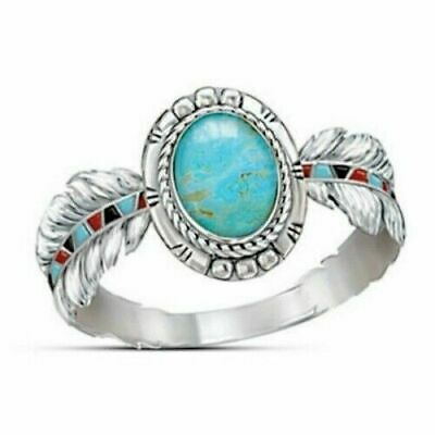 Women 925 Silver Turquoise Feather Fashion Wedding Ring Jewelry Gift Size 6-10