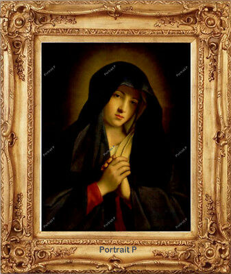 Old Master Art Antique Portrait Madonna in Sorrow Oil Painting Unframed 24x30