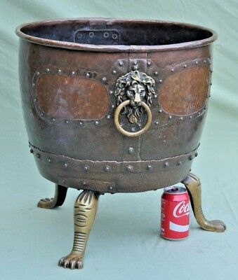 "Stunning Victorian Large 18"" Antique Copper & Brass Log Basket"