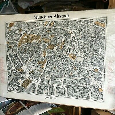 Vtg map Munchen Germany JRO-Sonder karte colored panoramic City plan picture