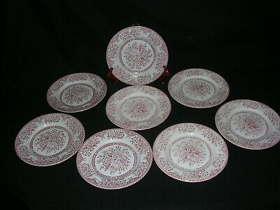 """set of 8 KEW PINK BREAD PLATES- 7"""" by WOOD & SONS (EIT)"""