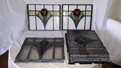 13 X Art Deco 1920'S/1930'S Stained Glass Window Panels (+2 Damaged) Courier