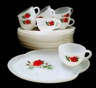 Vintage Federal Glass Red Rose Crest 16-Pc Snack Plate & Cup Set Milk Glass