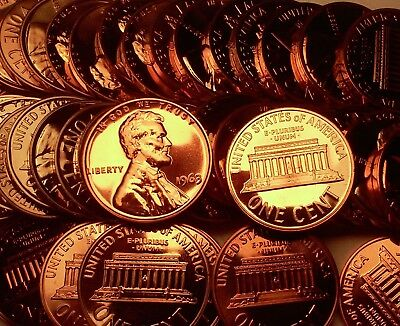 1963 Proof Lincoln Cent Penney Roll 50 Coins In A Tube !!$$