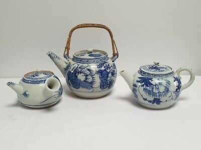 3 X Chinese / Japanese  Blue and White Teapots
