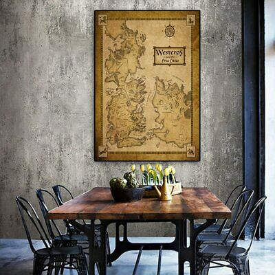 Wall Art Middle Earth Vintage Map Poster Game Of Thrones Movie Home Decor Silk