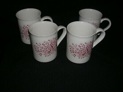 """set of 4 """"KEW PINK"""" MUGS (Chocolate or Coffee) - 3 5/8"""" by WOOD & SONS (EIT)"""