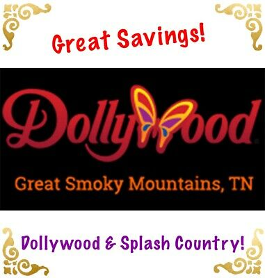 Dollywood Or Splash Country Theme Park Tickets Promo Savings Discount 1 Day!!