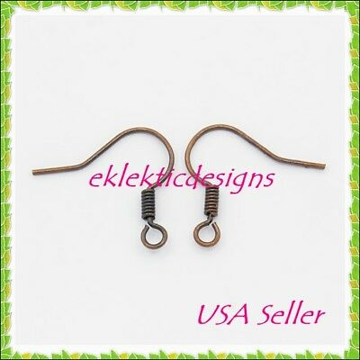 50pcs Antique Copper Bronze French Style Fish Hook & Coil Earrings Ear Wire 25pr