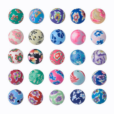 200PCS Handmade Polymer Clay Beads DIY Bracelet Jewelry Making Round Mixed Color