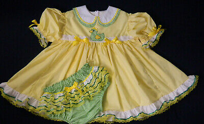 Adult Baby Sissy Littles Yellow n Green Gingham DOUBLE CUTIE COLLAR Dress Set