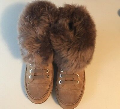 be04eedc9d7 UGG KRISTIN CHESTNUT Brown Suede Fur Boots Womens Size 7 *NIB ...