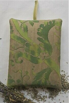 "Fortuny Lavender Pillow Sachet ""Demedici"" Shades of Green & Gold 7 1/4  x 5 1/2"""