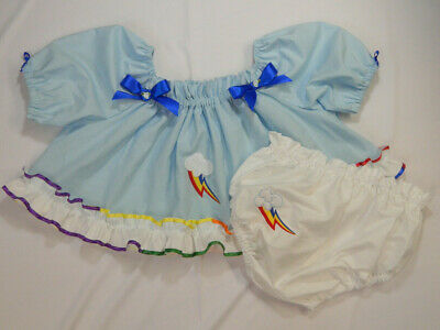 Adult Baby Sissy Littles MLP Rainbow Dash CROP TOP Diaper Cover Dress Up 2pc Set