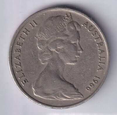 1966 Australian 20 Cent Coin CANBERRA MINT Fine to Very Fine
