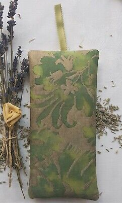 "Fortuny Lavender Pillow Sachet ""Demedici"" Shades of Green & Gold 7 1/4  x 3 1/2"""