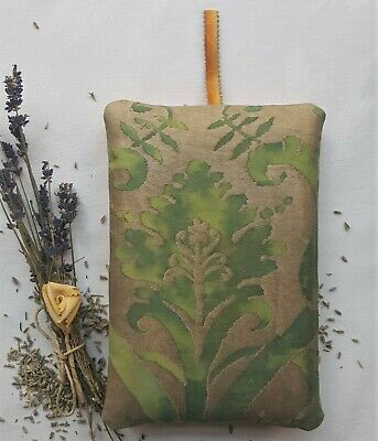 "Fortuny Lavender Pillow Sachet ""Demedici"" Shades of Green & Gold 7 1/2  x 5"""
