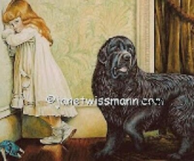 FINE-ART NEWF PAINTING PRINT Newfoundland Dog, Signed,  imagesize large16x23""