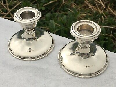 Pair Of Antique Hallmarked 1929 Sterling Silver Squat Candlesticks