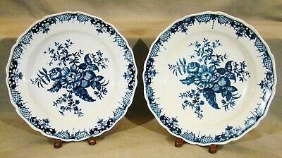 "18th Century Worcester First Dr Wall Period Blue Sprays 9"" Plate 1770-1780"