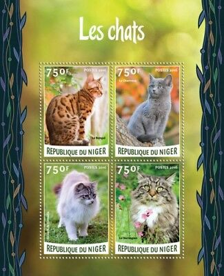 Niger 2016 Sheet Mnh Cats Chats Gatos Katzen Gatti 2