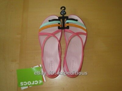 New Crocs Isabella Cut-Out Strappy Sandals Womens Size 7 Paradise Pink Rose Dust