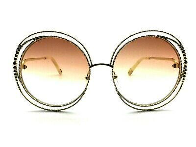 b16044cdb1d2e NEW CHLOÉ CARLINA CHAIN CE114SC Gold Gradient Rose Shaded Round Sunglasses  -  299.95