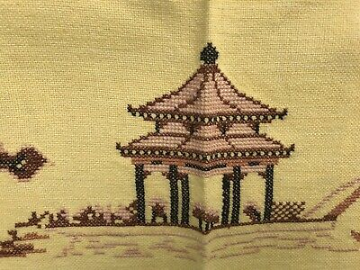 "VTG Tablecloth Cross Stitch Handmade Pagoda Yellow MCM 48""x80"" Cotton VGUC"