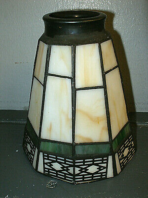 Vintage Leaded Stained Art Glass 10 Sides Arts & Crafts Lamp Shade 5.5""