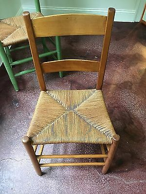 CHAIR MAPLE SHAKER LADDERBACK with HAND RUSH SEAT Antique