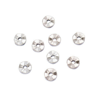 100PCS Tibetan Style Spacer Beads Jewelry Making Flat Round Antique Silver 7mm