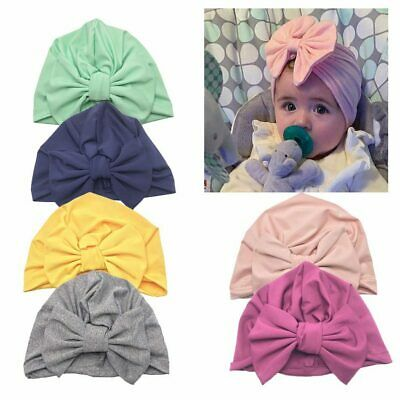 Solid Toddler Kids Baby Infant Bow-knot Headband Beanie Turban Hat Cap Head Wrap