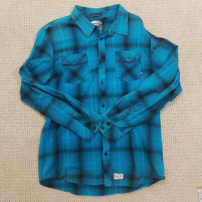 cb4e5a2295 VANS ANTHONY VAN Engelen Flannel Button Up Shirt Adult XL Blue Black Skater  Mens