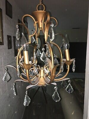 Vintage 4 Light ITALIAN TOLE Chandelier  w/ French Cut Crystal Pendalogue Prisms