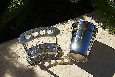Hammered silver brass accent color 4 x  TOOTHBRUSH STAND holder bathroom cup set