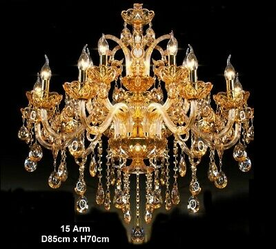 Antique Big European Italian French CHANDELIER K9 Crystal Amber Gold 15 ARM Lite