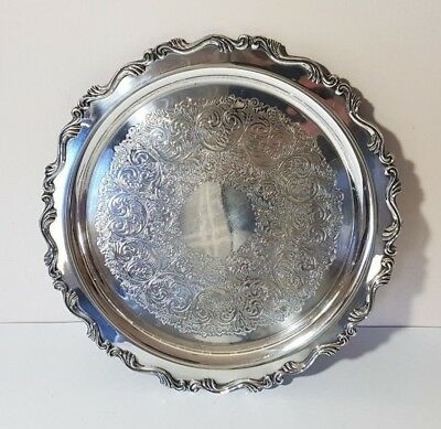 """Antique Silverplate On Brass Round Engraved Salver Tray Wm. A. Rogers Oneida 12"""""""