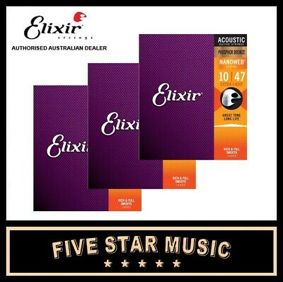 3 SETS ELIXIR Phosphor Bronze Nanoweb Extra Light Acoustic Guitar Strings 10-47