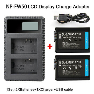 2Pcs NP-FW50 Battery + LCD Dual Charger For Sony NEX-5A NEX-5C NEX-5HB NEX-5K AU