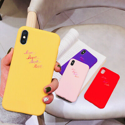 For iPhone XS Max XR X 8 Plus Ultra Slim Letter Pattern Silicone Soft Case Cover