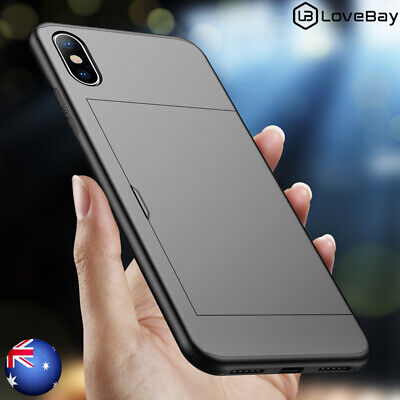 For iPhone 6s 7 8 X XS Max XR Slide Card Slot Shockproof Hybrid Armor Case Cover