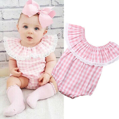 New Summer Newborn Infant Kids Baby Girl Plaids Romper Jumpsuit Playsuit Clothes