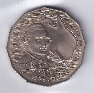 1970 Australian 50 Cent Coin - Bicentenary of James Cook's 1770 Voyage EF