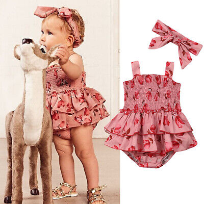 Newborn Infant Baby Girl Floral Clothes Sleeveless Romper Dress Outfit With Bow