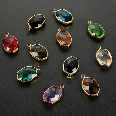 10X Mixed Color Rhombic Crystal Glass Connector Charm Beads DIY Jewelry Making