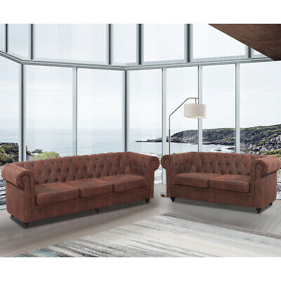 Distressed Tan Leather Chesterfield Sofa 3+2 Seater+Armchair Set Antique Settee