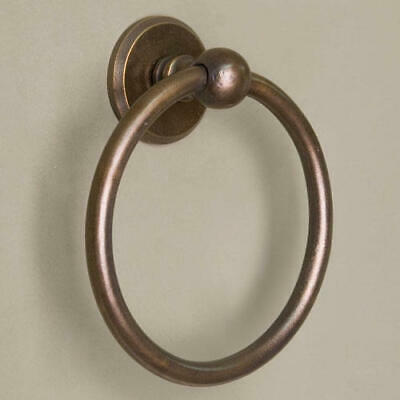 Signature Hardware Solid Bronze Towel Ring with Round Base Medium Bronze Patina