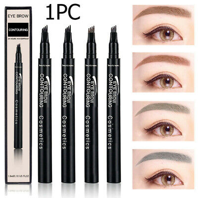 4 Fork Tip Eyebrow Ink Pen Microblading Tattoo Cosmetic Waterproof Brow Make Up