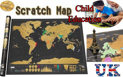 Scratch Off World Map Deluxe Edition Travel Log Journal Poster Wall Decor Toy BK