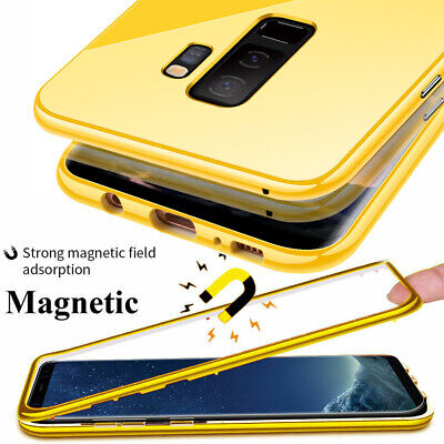 360° Magnetic Adsorption Case for Samsung Galaxy S10 S9 S8Plus S7 Glass+PC Cover